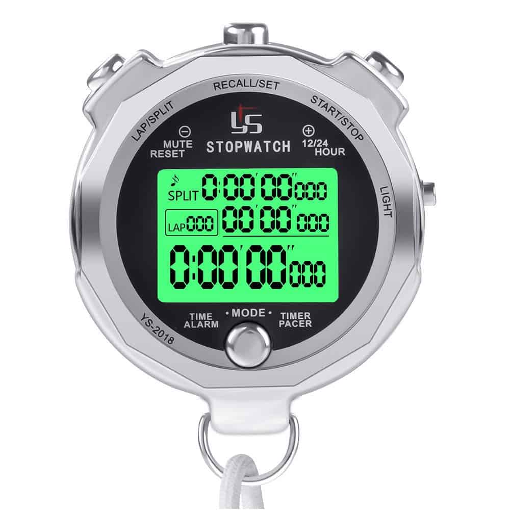 LAOPAO Stopwatch Metal Stopwatch Timer with Backlit Multi Lap Memory Digital Stop Watch for Coaches