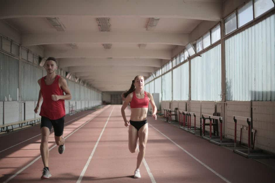 A woman testing her running speed stats